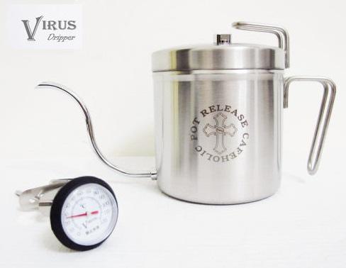 VIRUS2.0版棉花罐細口手沖壺+VIRUS溫度計(聖一牌咖啡手沖壺)