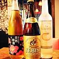 推薦酒水:梅子酒,惠比壽啤酒,番茄酒(由左至右)