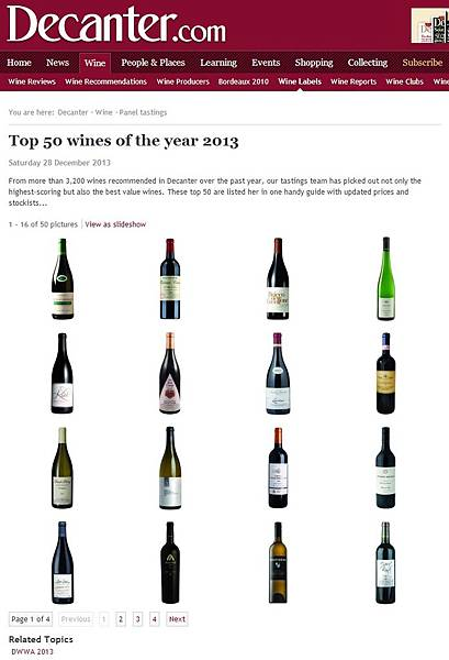 Top 50 wines of the year 2013 Decanter