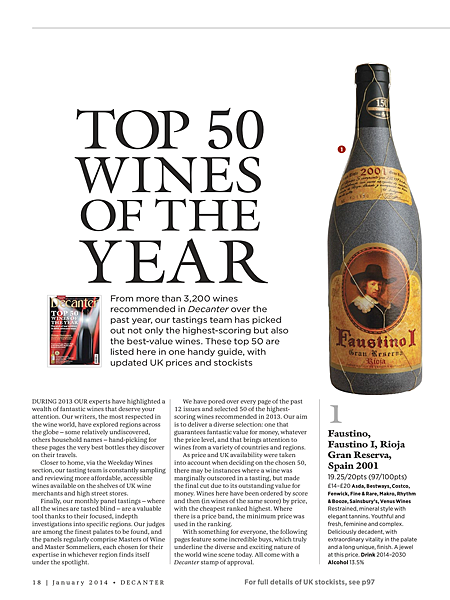 Decanter Top 50 wines of the year 2013