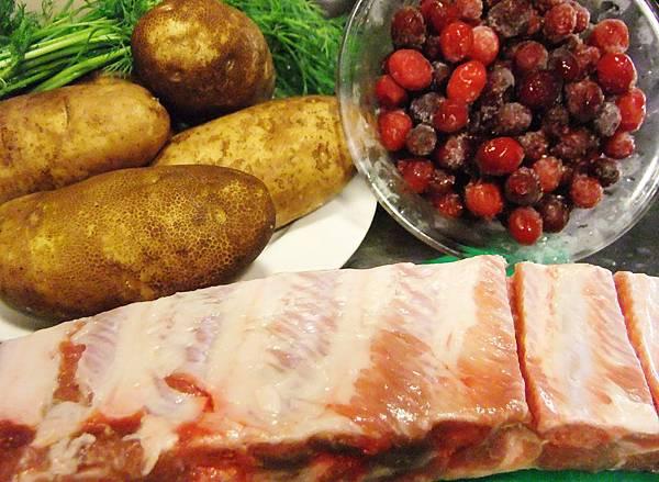 蒔蘿馬鈴薯泥烤肋排佐蔓越莓醬-食材