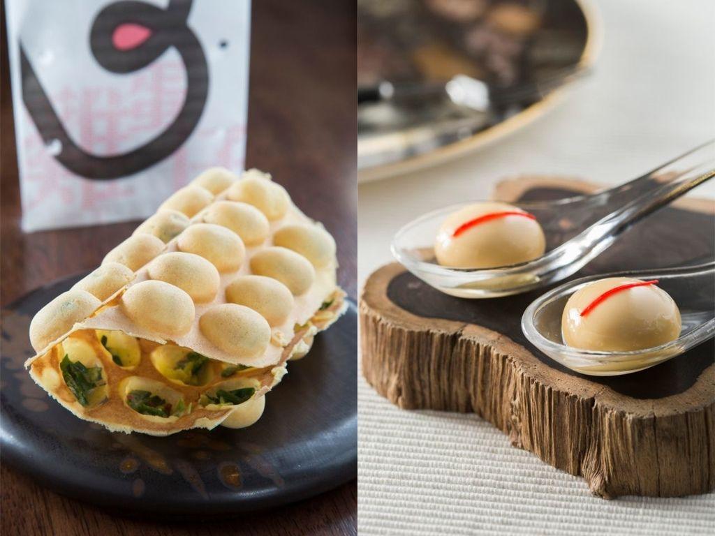 米其林三星餐廳的「BO Innovation」以分子料理著稱,由左至右為招牌料理雞蛋仔、小籠包