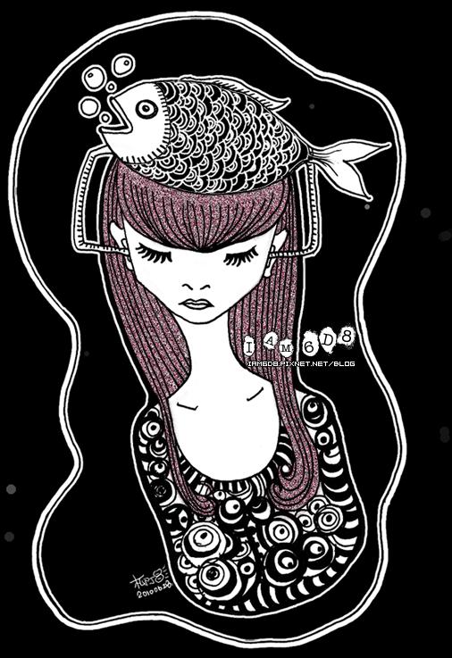 她的頭上有魚
