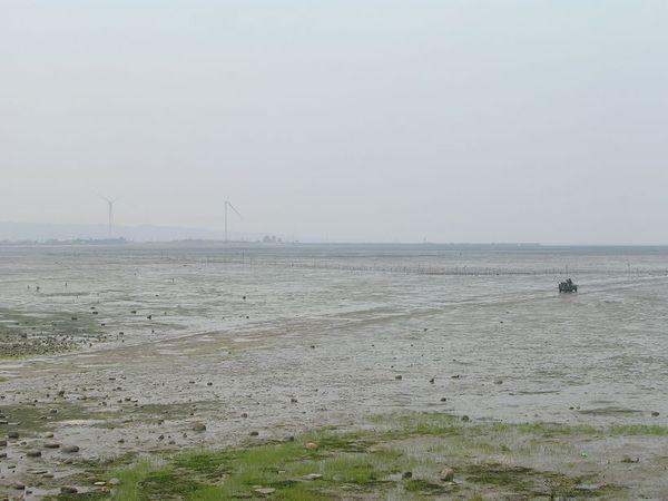 新竹海邊,及遠處的風力發電廠。
