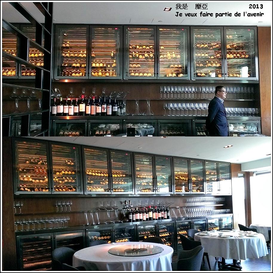 中菜廳廊道底整面的酒櫃