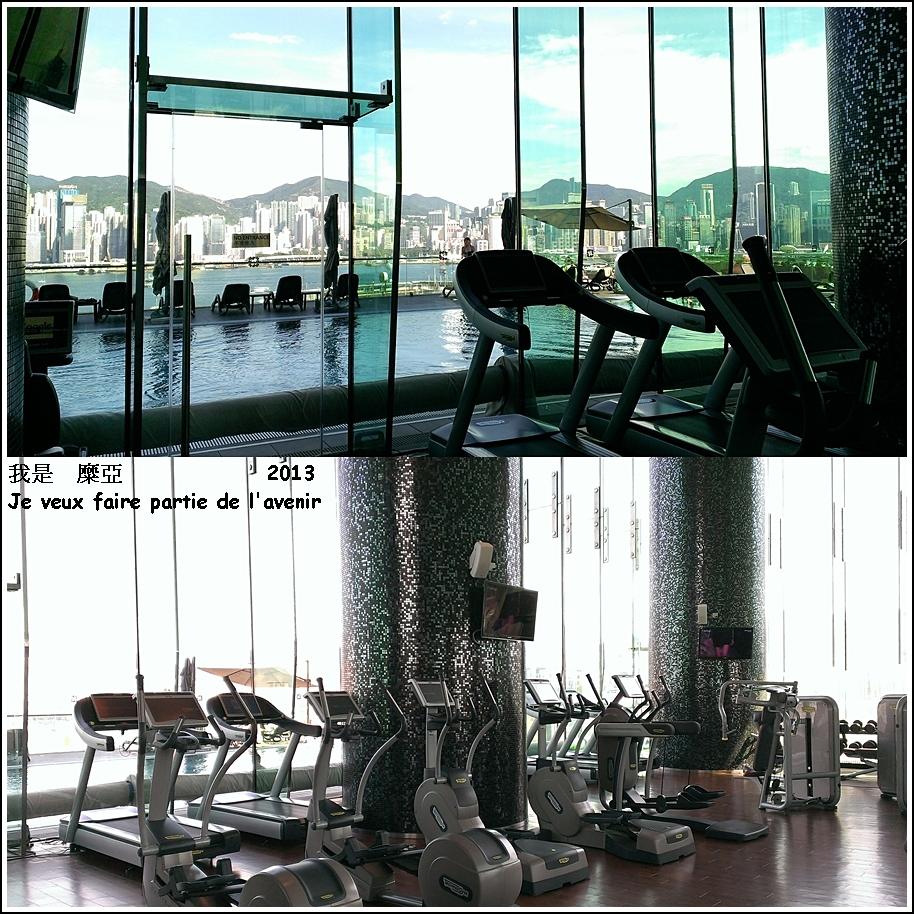 gym面對落地玻璃窗 窗外就是游泳池和維港 !