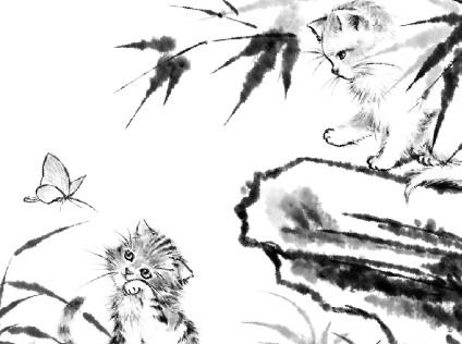 水墨雙貓圖