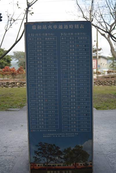 列車通過時刻表