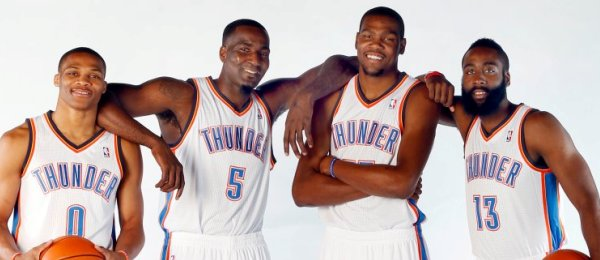 Russell Westbrook, Kendrick Perkins, Kevin Durant & James Harden