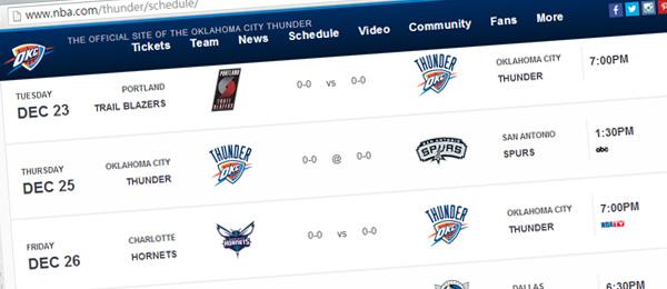 OKC Thunder 2014-15 Regular Season Schedule