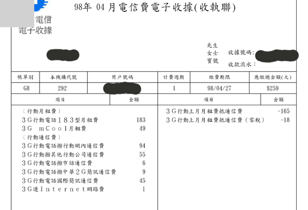 09年4月份中華電信帳單