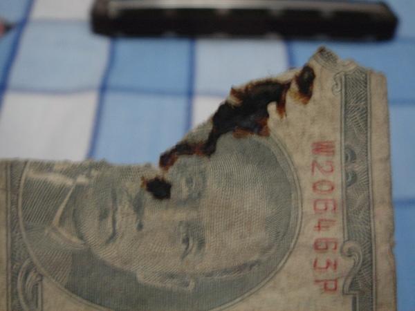 古錢被燒掉的地方