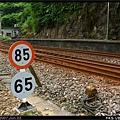 火車的速限牌,上面是太魯閣號