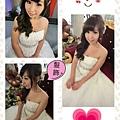 白色婚紗♥側編髮+白色頭飾