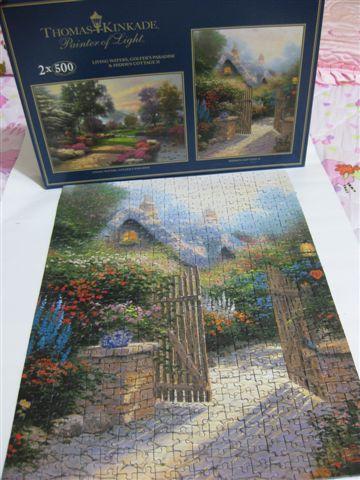 2009.07.18 500片Thomas Kinkade油畫~花園小徑 (10).JPG