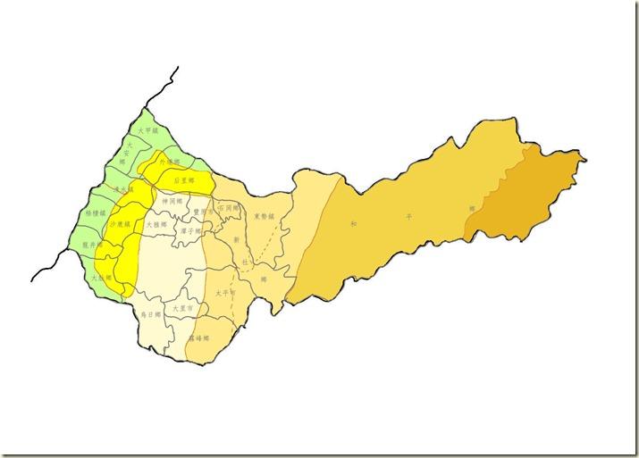 台中縣地形分界各區(全區)色加鄉鎮市名