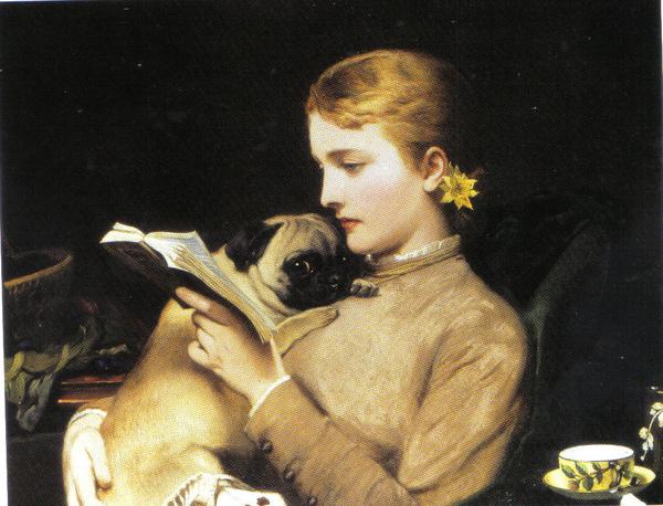 抱著哈巴狗讀書的少女.jpg