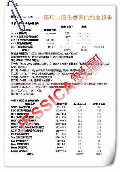 2014-0213常規生化檢驗報告及一般血液檢驗報告
