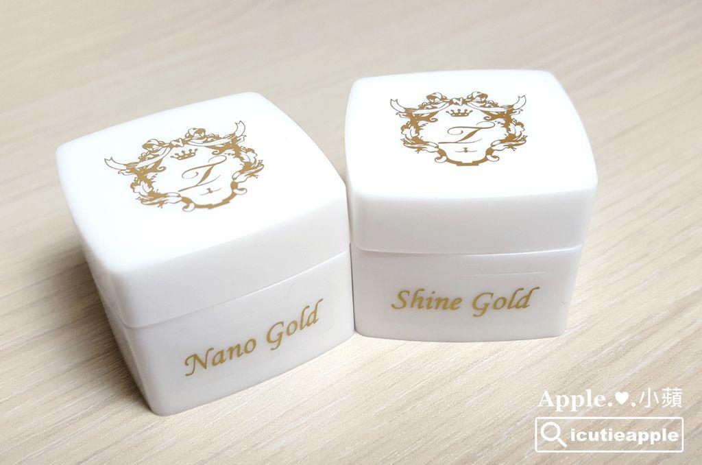 Nano Gold是細粉狀的白金色鑽石粉;ShineGold是片狀的白金色鑽石粉