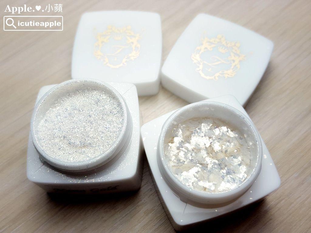 左邊是Nano Gold是細粉狀的白金色鑽石粉;右邊是ShineGold是片狀的白金色鑽石粉