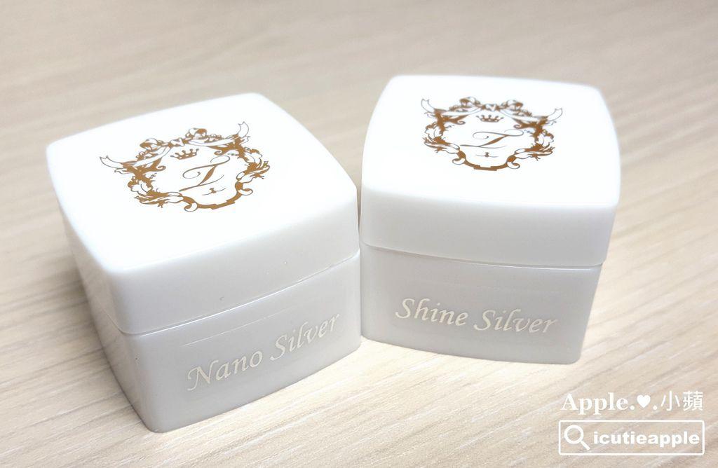 Nano Silver是細粉狀的白銀色鑽石粉;ShineSilver是片狀的白銀色鑽石粉