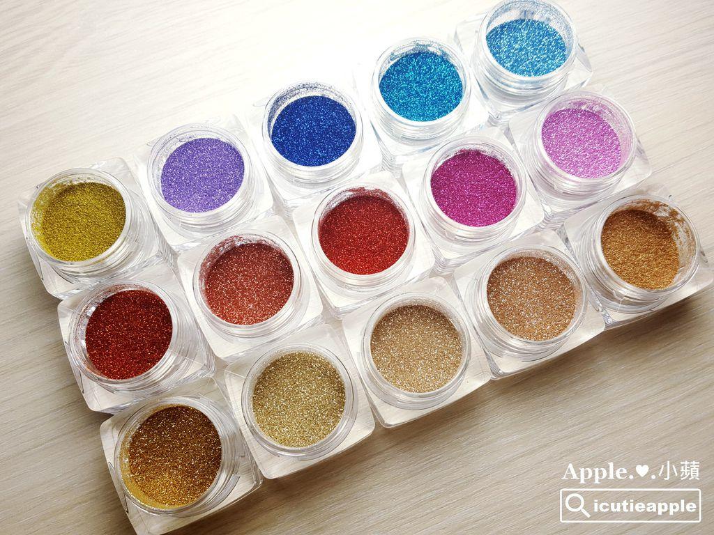 各種顏色款式的極光亮粉