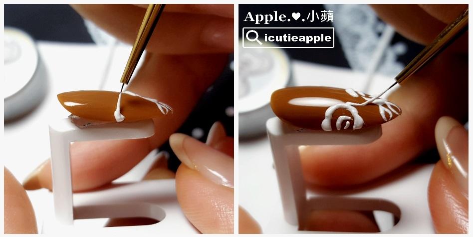 彩繪第2朵刺繡花兒,一樣用「放膠」的手法把膠放在甲面上操作即可。