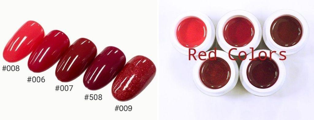 這些是過年前最受大家關注的紅色系列。先說說我最愛的兩顆紅色,分別是Leafgel #007、#508,大家應該知道,很有質感的紅色很少見,但這兩色真的無敵美~詢問度極高!!!尤其是Leafgel #508這顆酒紅色真的美暈了。而Leafgel #006、#007是日本JNA凝膠指甲檢定指定用色,如果想要準備JNA日檢,或許可以留意看看^^(本圖源自日本Leafgel的IG)
