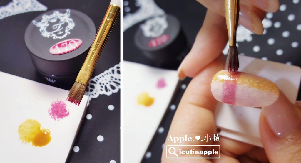 wTF19:一樣的手法,接續沾點出第2條、第3條毛呢格紋。照片中第2條粉紅格紋,使用色號是Tiara秋冬新色#170。