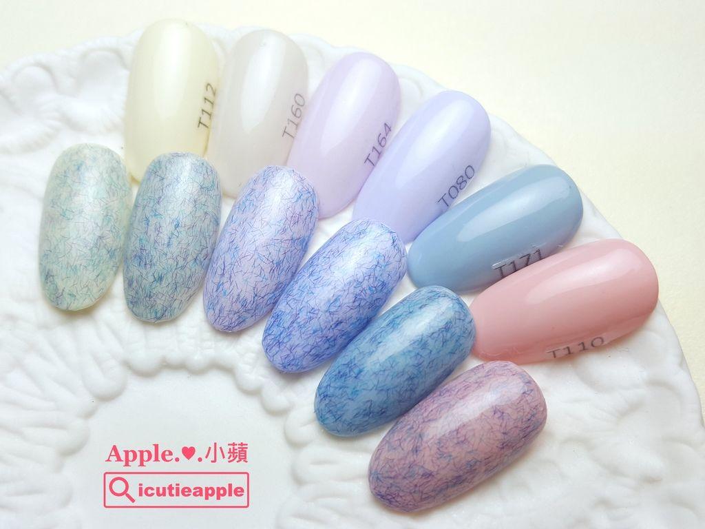 wTF45-01:Tiara纖維毛妮膠#K03塗佈兩層在不同底色上的效果。小蘋私心很喜歡藍色系纖維毛呢搭配粉紫色底所呈現出來的效果,柔柔的好美。(左到右的底色色號→ Tiara 112、160、164、080、171、110)