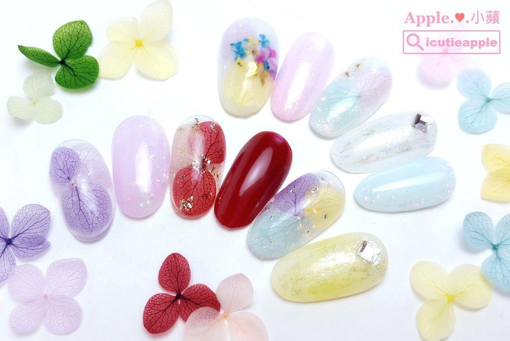 F000w:紫陽花兒與KOKOIST京都蛋白石寶石膠結合的美甲設計,柔柔的、粉粉的、透透的配色,是我春夏的大愛款。
