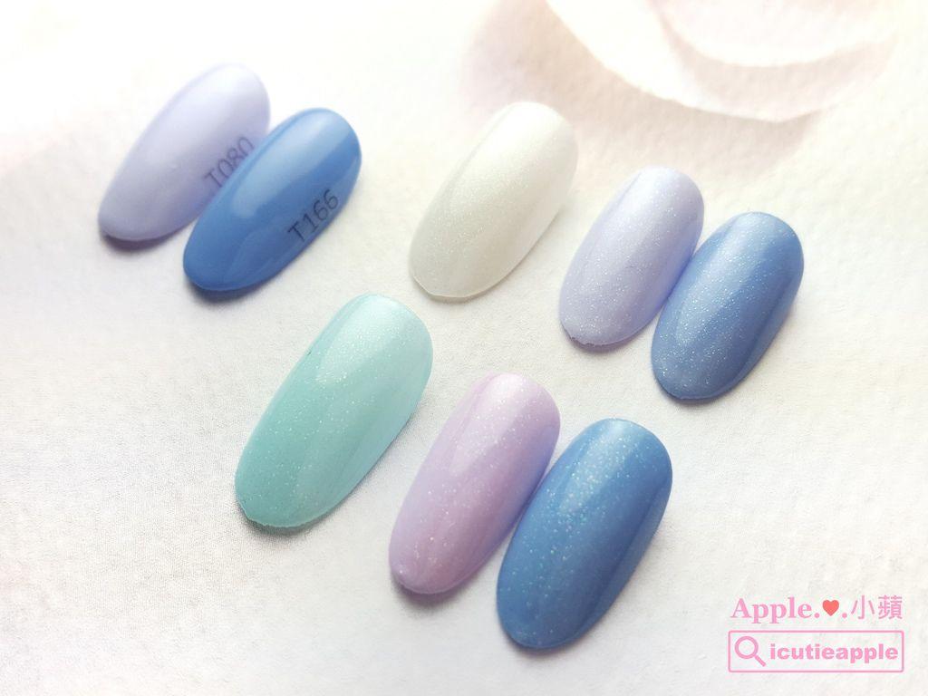 wTS-14:小蘋私心很喜歡Tiara這兩個顏色#080、#166,她們分別被Tiara春季新色#172(白)、#175(粉藍)疊擦的效果如上面的照片所示。其中被Tiara #175(粉藍)疊擦,小蘋特別覺得意外漂亮~