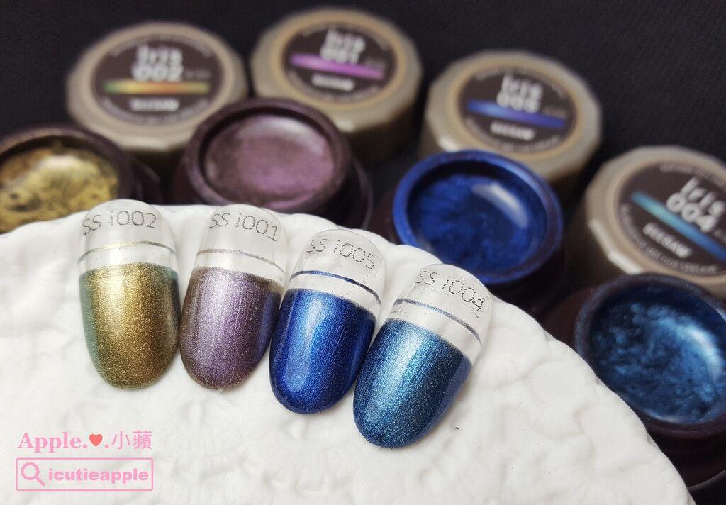 wColor-18-01:日製品牌SEESAW彩膠(2.5ml)iris系列的顏色,有點金屬感的變色龍色,每次快接近冬天時,常常都會看到她們出現在各大日雜上,膠體一樣很滑順、好塗佈,也很適合拉線~極推薦喲!!!