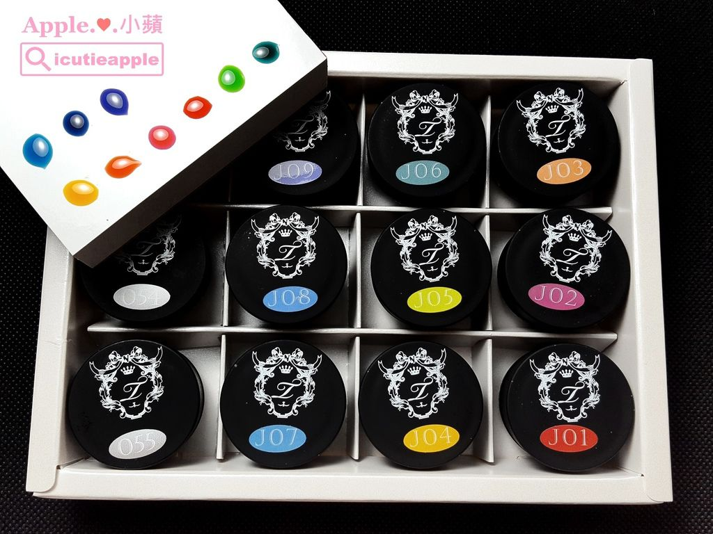 ETJ-05:「清涼夢幻的疊色花朵」使用的色號:Tiara夏日新推出的全套果凍色共9色#J01~#J09;#54正白色、#55打底的珠光白。