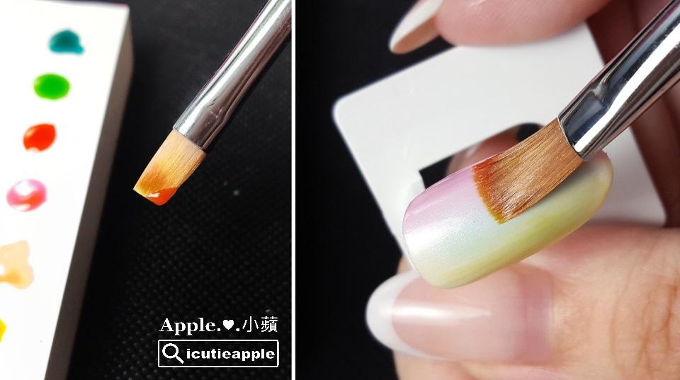 ETJ-24:甲面另一側,以平筆筆刷的另一端沾取果凍橘#J03,用相同的方式重復疊刷幾次,一樣會自然產生很美的漸層色。