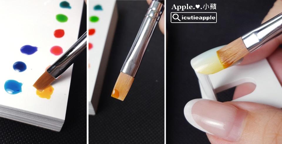 ETJ-23:一樣使用Tiara #55珠光白打底,照燈固化後,接著以平筆筆刷其中一端,沾取果凍黃#J04,在甲面的一側,重復疊刷幾次,就會產生如同照片中的效果,有自然的漸層感跑出來^^