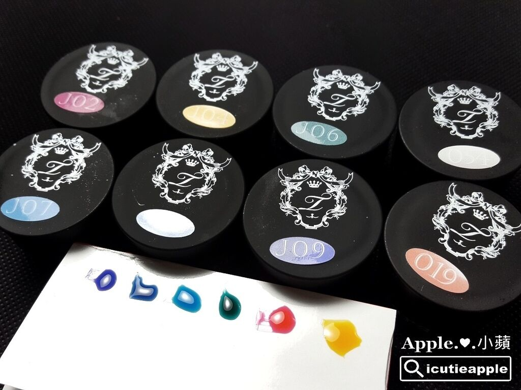 TEJ-05-01:「微透感幻彩水流」使用的色號:Tiara果凍色#J02、#J04、#J06、#J07、#J08、#J09;#54正白色;#19打底用。