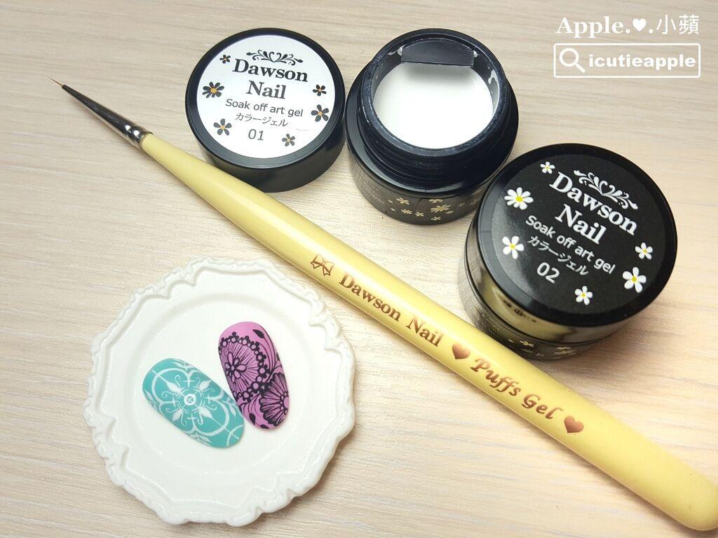 wPuffs 47:小蘋這兩片手繪作品所使用的產品:大森日本製彩繪膠(黑&白)、大森Puffs Gel泡芙凝膠小線筆S、Una甲油膠 #134(精品湖水綠)、Una甲油膠 #043(浪漫紫丁香)、大森鑽石霧面上層。