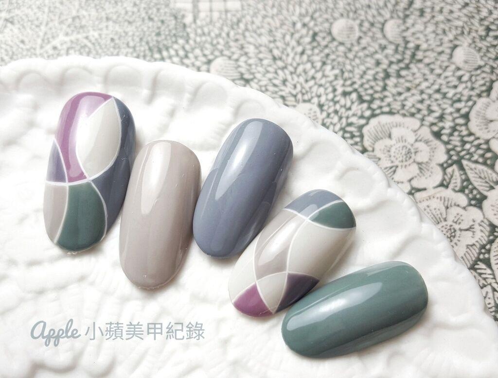 wLove-83-01:小蘋另外一組進階色塊彩繪作品,使用色:大森鑽石甲油膠#66(淺米灰) 今(2017)年9月秋季美展秋冬新色、Love Dawson #D17、#D19、#D20、#D22、#D23、調色(#D21+#D23)、大森日本製彩繪膠(白)