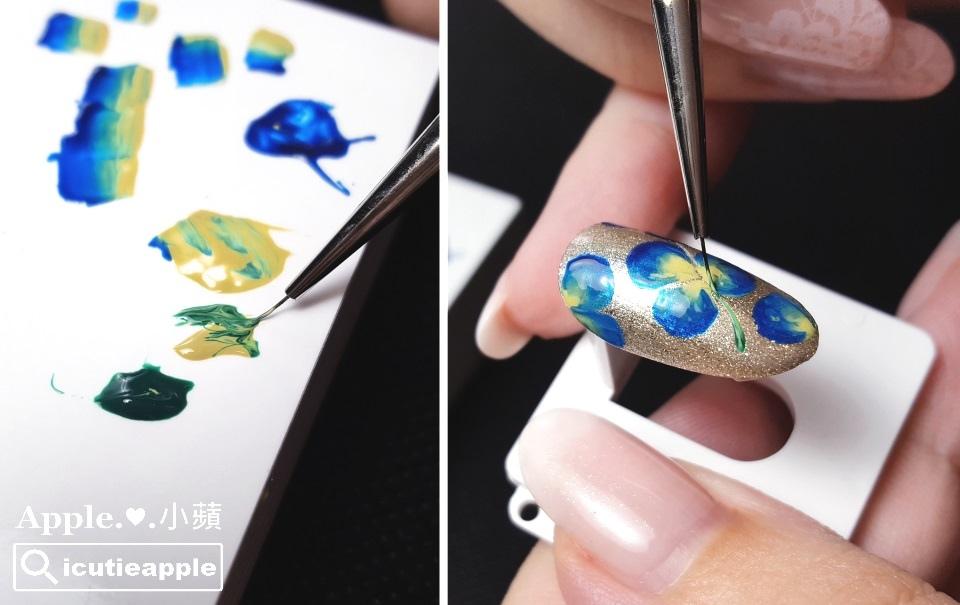 wPuffs-19-01:花瓣都彩繪完成後,接著使用大森Puffs Gel泡芙彩膠 #135 很美的正綠色、以及秋冬指標新色 #156沉穩時尚芥末黃,同時交疊沾取在小線筆上,在適當位置繪製出花梗。