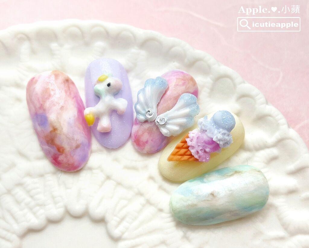 wD-37-01:先來看看小蘋這組少女心繽紛粉嫩指彩設計的全貌。