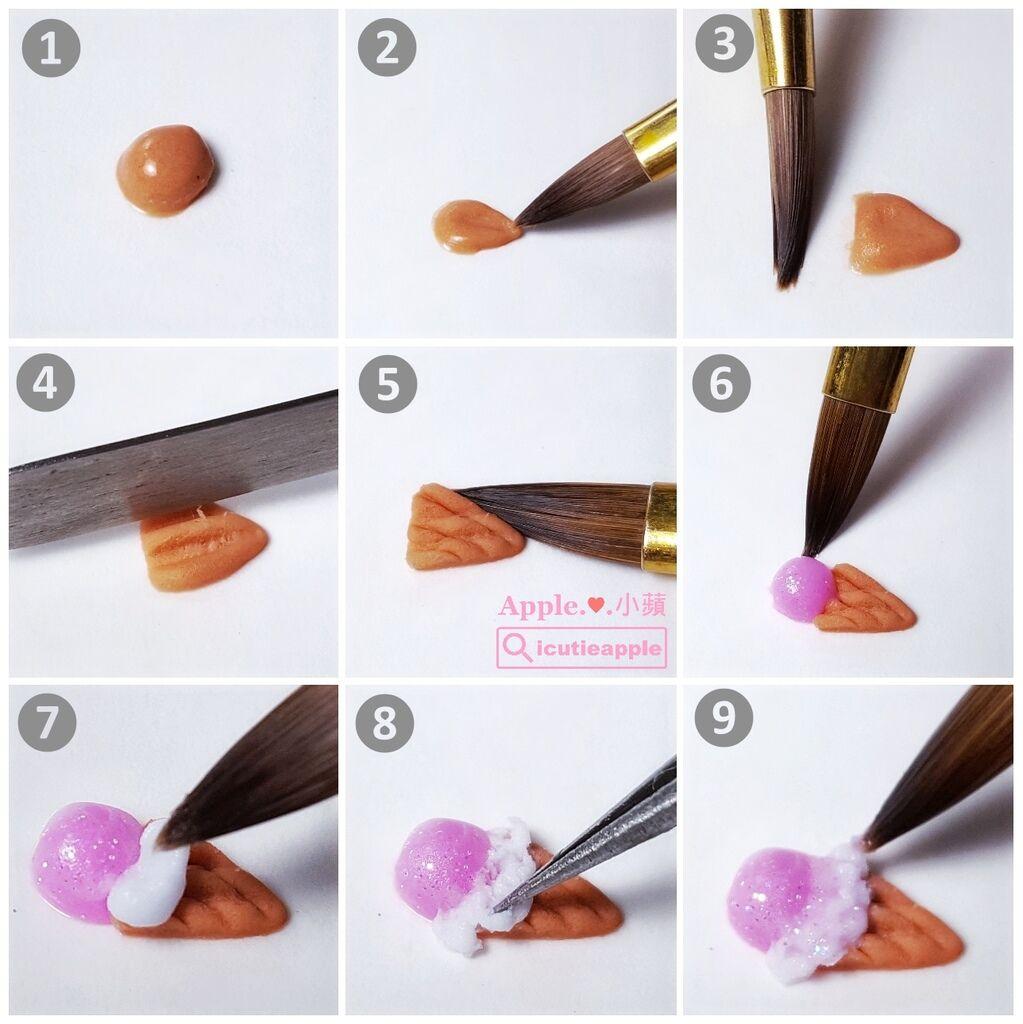 wD-34-01:小蘋是在調色紙上操作,製作步驟如照片所示,對粉雕有興趣的女孩兒們可以嘗試看看喲^^