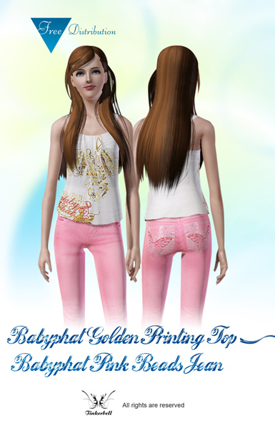 Babyphat Golden Printing Top and Pink Beads Jean.jpg