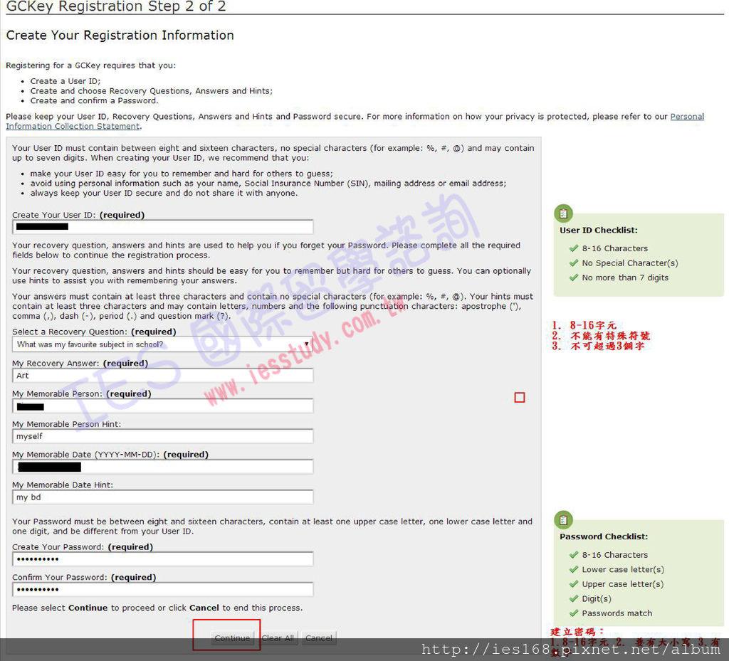GCKey - Registration Step 2 of 2