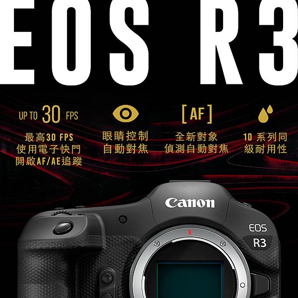 圖2. EOS R3 具備最高30FPS高速連拍、眼睛控制自動對焦、全新對象偵測自動對焦與旗艦級防水防塵功能等強悍功能.png