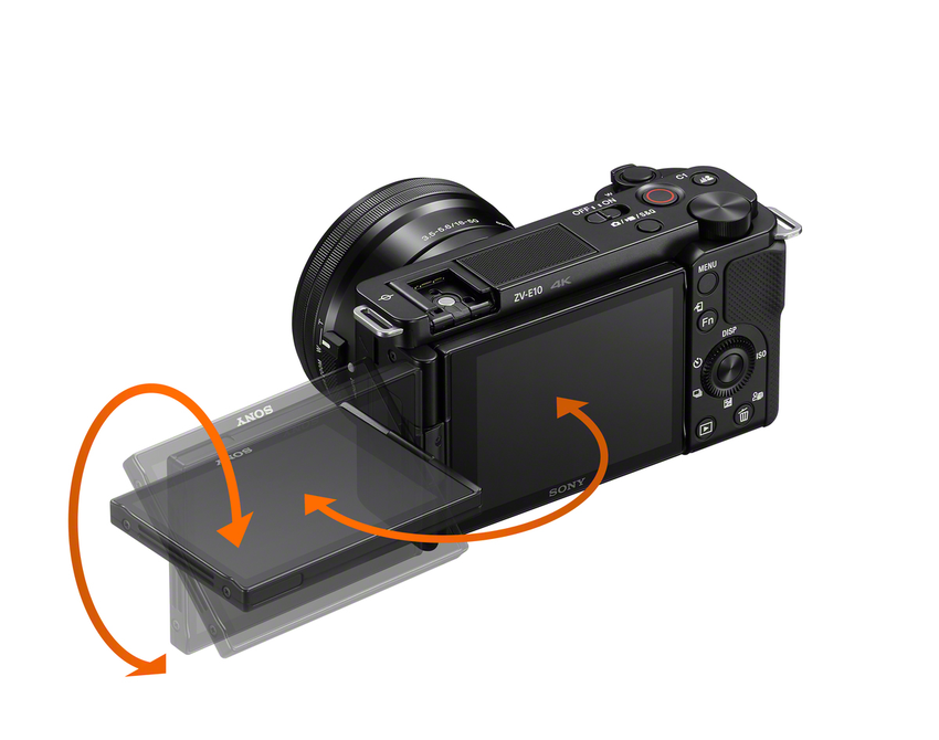 圖2)  全新 Sony Alpha ZV-E10 ,為首款採用側翻式多角度螢幕的 E 接環 APS-C 片幅機種,並具備快速近距離對焦、產品展示模式與一鍵切換景深等超直覺拍攝設定,更加突顯對焦主體。.png