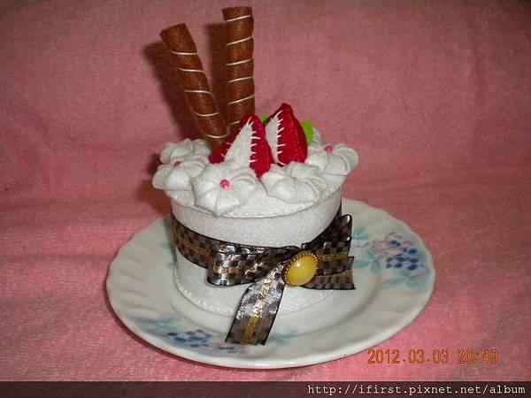 手作不織布草莓蛋糕