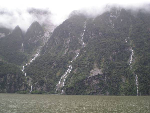 Milford Sound隨處可見的瀑布