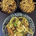 無印良品肉骨茶飯+醬油里肌肉炒高麗菜