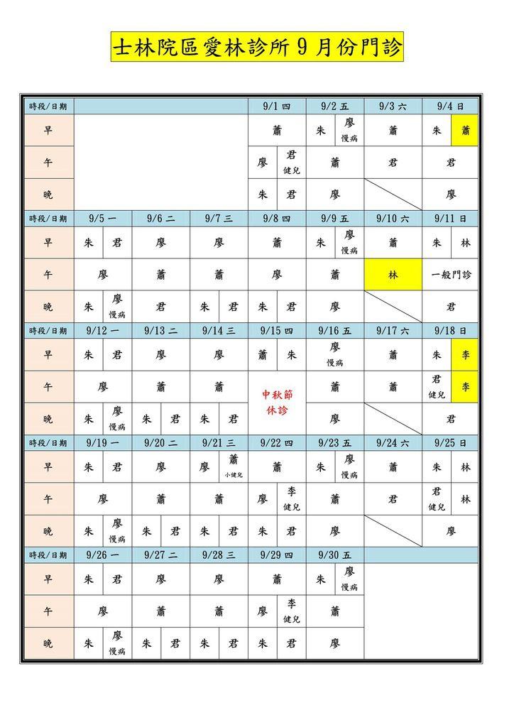 愛林醫療機構兩院區10509月份門診00-1